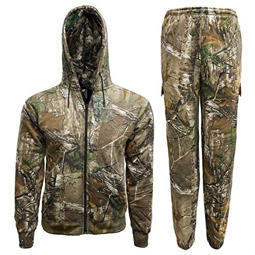 YCC® Mens Forest Camouflage Tracksuit ZIP Up Hoodie & Jogger Full Set Fishing   Adult Full Set Camo Army Jogging Gym Zip Hoodie Sweatshirts Sportswear (M, Camo Tracksuit)