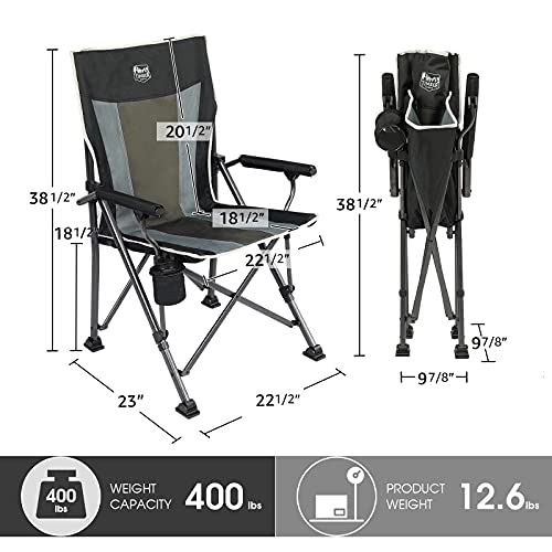 TIMBER RIDGE Folding Camping Chair with Padded Hard Armrest and Cup Holder-for Outdoor, Camp, Fishing, Hiking, Lawn, Including Carry Bag (Black)