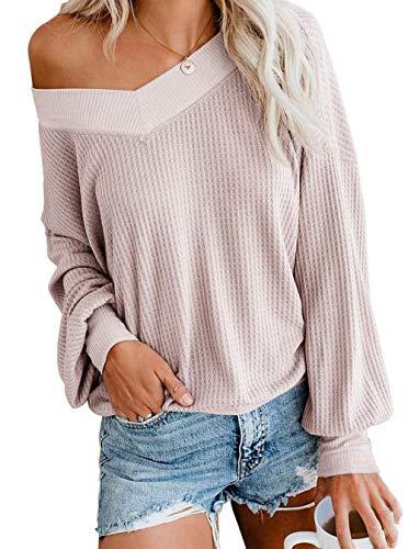 Asskdan Bluse, Damen, V-Ausschnitt, Langarm, Sweatshirt, Tunika, große Größe, Pullover, Hemd Gr. Small, Rosa