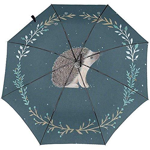 Niedlicher Kleiner Igel Gedruckter winddichter Reise-Regenschirm - winddichtes, verstärktes Überdachung
