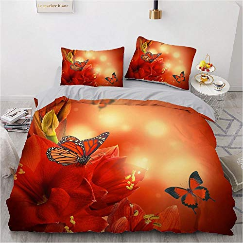 ZZAML 3D Duvet Cover Children Floral Wedding Microfibersingle Duvet Cover Double King Size,With Zipper Closure 220x240