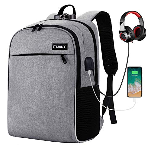 Slim Laptop Backpack, Business Travel Backpack with USB Charging Port Fits for 15.6 inch Laptop & Notebook (Grey w/Lock)