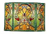 Chloe Victorian 3pcs 44x28 Myrtle Tiffany-Style Folding Fireplace Screen