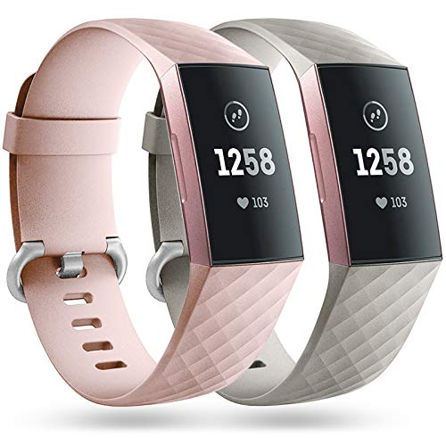 Faliogo 2 Stück Ersatzriemen Kompatibel mit Fitbit Charge 3 Armband/Fitbit Charge 4 Armband, Weiches Sports Uhrenarmband Armbänder für Damen Männer, Klein, Sand Rosa/Grau