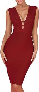 UONBOX Women's Sleeveless Deep Plunge V Neck Night Club Party Bandage Dress Waist Straps