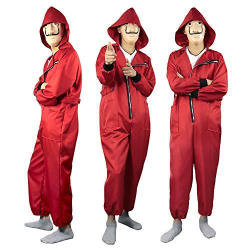 La Casa De Papel Costume con Maschere - Denaro Rapina Dali Clown Tuta Rossa Costume Cosplay di Halloween per Adulti Bambini
