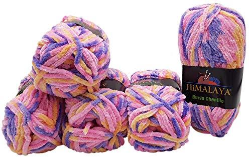 5 x 100 Gramm Himalaya Bursa Chenille Strickwolle Mehrfarbig, Babywolle, 500 Gramm Wolle bunt Super Bulky (Flieder rosa pfirsich)