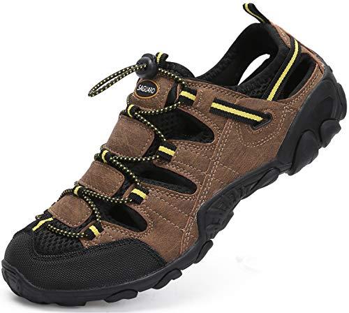 Sandali Estivi Uomo Esterni PelleTraspirante Casual Sneakers Sandali Sportivi Scarpe da Trekking Passeggiata Fisherman Antiscivolo