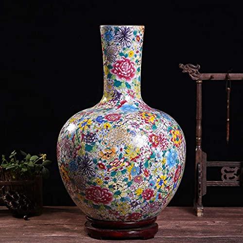 SENWEI Jarrones de pie para decoración del hogar, Centro de Mesa, florero, florero Grande de cerámica China, 43 * 25 cm (Color: F)