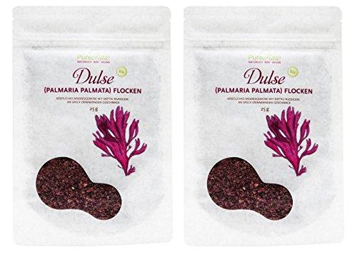 PureRaw Dulse-Flocken 2er-Pack (2 x 25g) Lappentang (bio, roh, vegan) Rotalge Palmaria Palmata x2