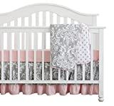 3 Pcs Set Boho Floral Ruffle Baby Girl Blanket Nursery Crib Skirt Bedding (Grey Pink)
