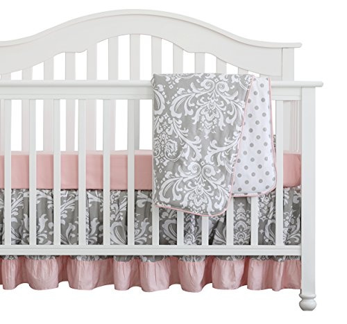 3 pcs Set Boho Floral Ruffle Baby Blanket Baby Nursery Crib Skirt Set Baby Girl Crib Bedding (Grey Pink)