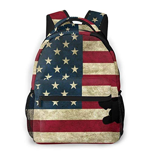 Yuanmeiju Fashion Unisex Rucksack Wrestling American Flag Vintage Bookbag Lightweight Laptop Bag for School Travel Outdoor Camping