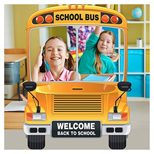 Yellow School Bus Photo booth Selfie Frame: Sizes 36x24, 48x36 Inches, Wheels on the bus, Custom Birthday Bus Photo Booth, Personalized Back To School Party Decorations, Party Supply Photo Booth Frame