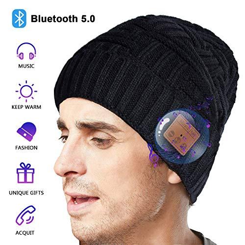Bluetooth Mütze Herren Damen Geschenke, Bluetooth 5.0 Kopfhörer Mütze Beanie Elektronisch Geschenke, Bluetooth Unisex Winter Strickmütze mit Mikrofon für Freisprechanruf, Musik, Laufen, Skifahren