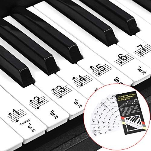 Klavier Keyboard Noten Aufkleber für 32 | 49 | 54 | 61 | 88 Tasten, Transparent Klavieraufkleber für Keyboards Klavierschule Piano Sticker Für Weisse Tasten