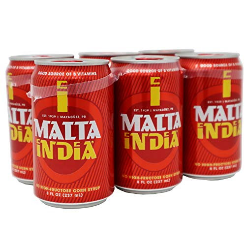 Malta India - Malt Beverage Non Alcoholic Original from Puerto Rico / Soda 8 oz Can - 6 Pack
