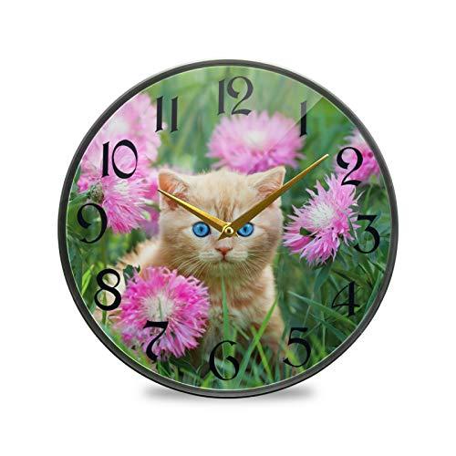ART VVIES Reloj de Pared Redondo de 12 Pulgadas sin tictac silencioso operado con Pilas Oficina Cocina Dormitorio Decoraciones para el hogar-Lindo Gatito Sentado Prado de Flores