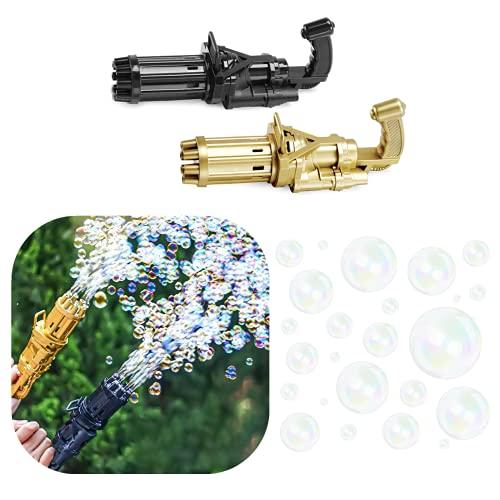 Máquina de Burbujas Gatling,Fabricante AutomáTico de Burbujas de Ocho Agujeros,Pistola Automática de Burbujas No Tóxica a Prueba de Fugas,Juguetes al Aire Libre para NiñOs y NiñAs (Dorado)
