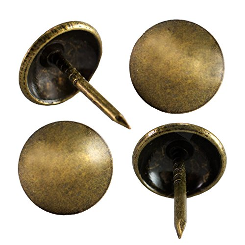 decotacks Upholstery Tacks for Furniture, Upholstery Nails for Sofa & headboards, Thumb Tack Push Pins, 7/16' Head - 100 PCS/Box [Antique Brass, French Natural] DX0511AB