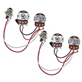 Bass Wiring Harness Prewired Kit for Precision Bass Guitar 250K Pots 1 Volume 1 Tone Jack Pack of 2