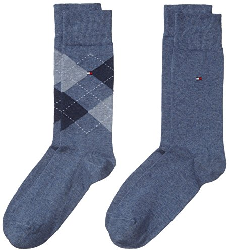 Tommy Hilfiger Herren TH Men Check 2P Socken, Blau (Jeans 356), 39-42 (2er Pack)