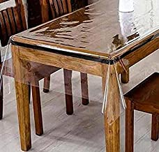 GorgeousHome CLEAR/TRANSPARENT TABLECLOTH HEAVY DUTY KITCHEN TABLE TOP COVER WATER PROOF HARD PLASTIC VINYL SPILLS PROTECTOR (60