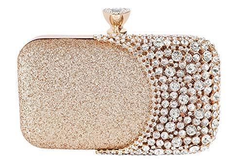 FIVE FLOWER Womens Crystal Evening Clutch Bag Wedding Purse Bridal Prom Handbag Party Bag (GOLD), Medium
