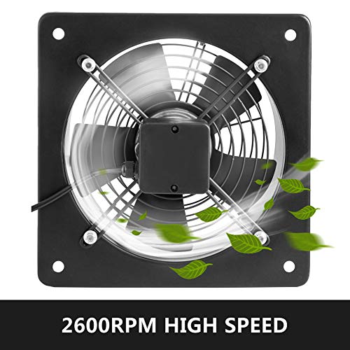 FlowerW Industrial Extractor Metal Axial Exhaust Ventilation Commercial Air Blower Fan 254mm / 10″ Inches (2 Pole) 1850m3/h for Warehouse Restaurant Garage Home Bathroom Kitchen
