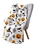 Haunted Halloween Throw Blanket: Spider Webs Witch's Hat Black Bats and Decorated Pumpkins (Style 2)