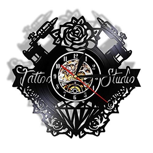 NIUMM Orologio da Parete in Vinile Tattoo Studio Vinly Record Orologio da Parete Tattoo Salon Tattoo Gun Fiore Wall Art Silent Retro Clock
