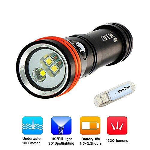 Archon D15VP (W21VP) Tauchlampe Licht CREE LED 1300 Lumen Taschenlampe Lampe Unterwasserlicht 100 Meter Wiederaufladbare Beleuchtung Taschenlampen, 18650 Batterie (Batterie nicht enthalten)