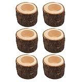POFET Juego de 6 portavelas de madera con corteza de corteza de flores,...