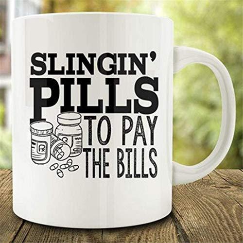 N\A Regalo para farmacéutico, Pastillas para Pagar Las facturas Taza de café, Taza de farmacéutico de Farmacia, Taza de Enfermera