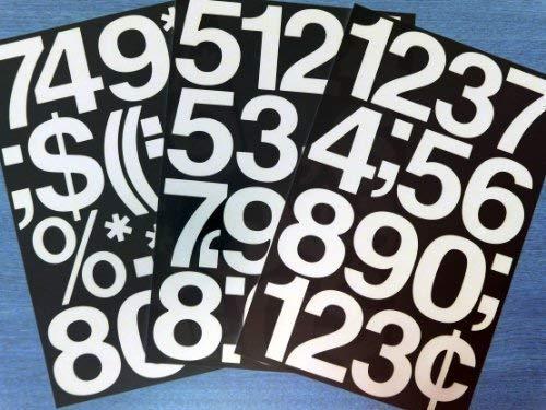 76.20 x 75 mm (7.62 cm) mit Zahlen, Weiß, Vinyl, selbstklebend, aufkleben, geschnitten, zu Zahlen, Formen, wasserfest, für Schilder, Fahrzeuge, Boote, Poster und Schulprojekte, &