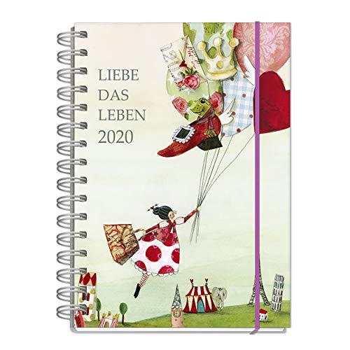 Jahreskalender, Kalender Buch für 2020, je Woche eine Seite, mit lebenslustigen Motiven, 128 Seiten, 1 Seite pro Woche, Termine, Notizen, Spiralbindung mit Gummiband, DIN A5