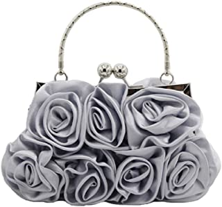 Superw Roses Clutch Purse Evening Bag, Satin, with Detachable Strap (Color : Gray)