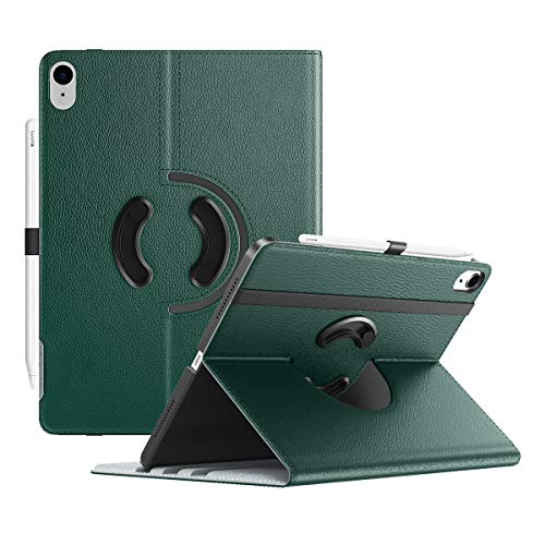 TiMOVO Case for New iPad Air 4th Generation, iPad Air 4 Case (10.9-inch, 2020), 90 Degree Rotating Stand Leather Cover, [Support Apple Pencil Charging] Smart Swivel Case & Auto Sleep/Wake, Night Green