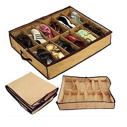 offershop Zapatero para debajo de la cama, ahorra espacio, 12 pares, ultrafino, para guardar zapatos, debajo de la cama, para casa, camping, viaje