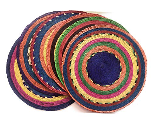 Handwoven Mexican Colorful Round Placemats