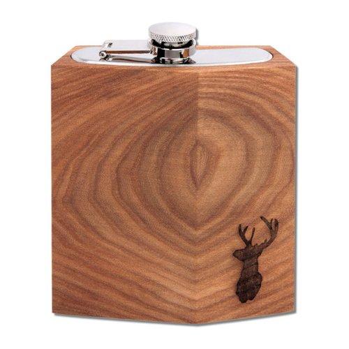Heupfles bergiep 190 ml met hert - Heupfles van roestvrij staal met dekselhouder en hout van duurzame teelt is uniek! Een geweldig cadeau voor vrienden en familie. Gemaakt in Duitsland