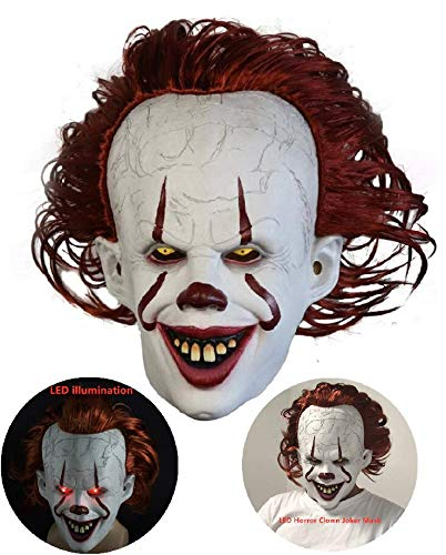 DEALYU Pennywise Maske 2019 - Stephen King's Es Maske - LED Horror Clown Joker Maske Halloween Ostern Cosplay Kostüm Requisiten