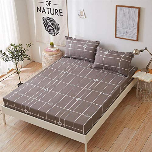 WTMLK 3pcs Bed Sheet With Pillowcase Blue Flower Printed Bed Linen Queen Mattress Covers Fitted Sheet Sets With Elastic For King Size,type 2,120x200cmx25cm
