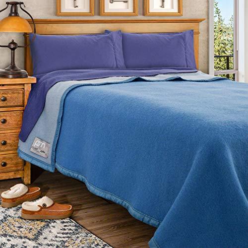 Poyet Motte Aubisque 500GSM Heavyweight 100-Percent Wool Blanket (King, Blue/Lt Blue)