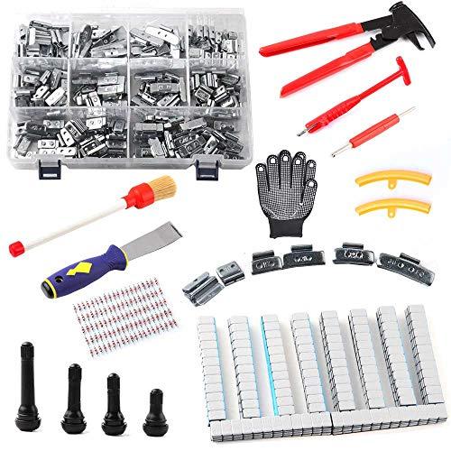 aleto 534 piezas de montaje de neumáticos, equilibrado de pesas adhesivas, válvulas de goma (TR412 TR413 TR414 TR418) guantes protectores de llantas, destornillador de válvula