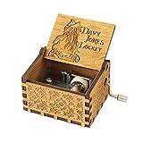 Meiion Antigua caja de música de madera tallada música de manivela manual: Piratas del Caribe...