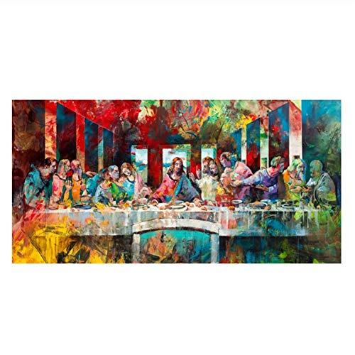 La última Cena de Leonardo Da Vinci Famosos Cuadros de Arte e impresión en Lienzo Arte de Pared para Sala de Estar Decoración para el hogar-60x120cm Sin Marco