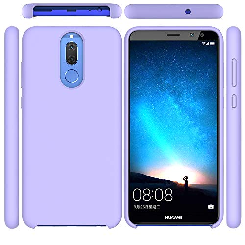 Funda para Huawei Mate 10 Lite, Líquido de Silicona Carcasa Huawei Mate 10 Lite, Anti-Huella Digital con Suave Almohadilla de Forro de Tela de Microfibra, Funda Liquida Silicona Morado