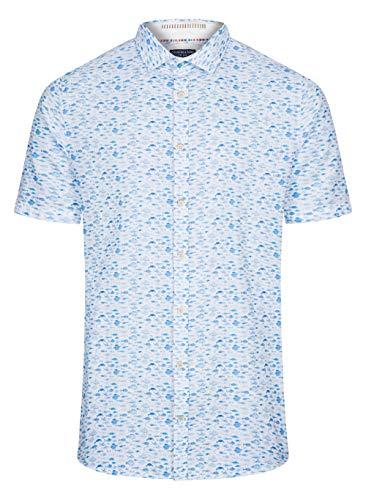 Colours & Sons Herren Hemd Tom - Baumwolle-Leinenmischung, Kurzarm, Fischprint, Mehrfarbig, Kentkragen, XL
