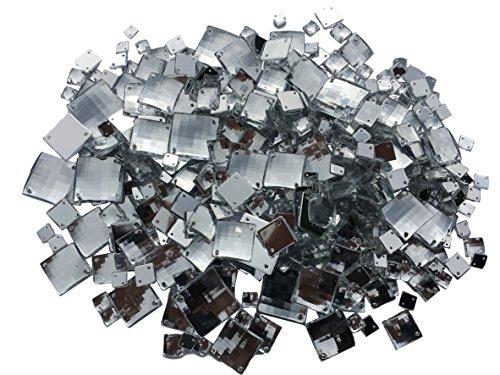 Crystal King - Mix di strass quadrati scintillanti da applicare o cucire: pietre acriliche rotonde (strass, pietre brillanti, pietre per gioielli), 470 pezzi